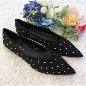 Zara Black Suede Flats w/ Diamond Studs